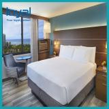Springhill Suites Hotel Customized Simple Upholstery Fabric with Solid Wood Hotel Furniture Queen Bed headboard
